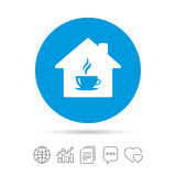 Coffee shop icon. Hot coffee cup sign. Hot tea drink with steam. Copy files, chat speech bubble and chart web icons. Vector Stock Image