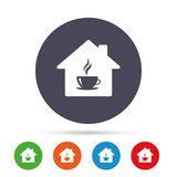 Coffee shop icon. Hot coffee cup sign. Hot tea drink with steam. Round colourful buttons with flat icons. Vector Royalty Free Stock Photos