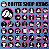Coffee shop icons in circle Royalty Free Stock Images
