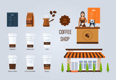 Coffee shop illustration design elements. Young shop assistant serving a cup of coffee. Coffee flat collection drink. Royalty Free Stock Photography