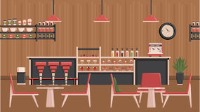 Coffee Shop Illustration. Coffee house design concept with cafe employees behind bar waitress with tray and visitors sitting at table flat illustration Royalty Free Stock Photos