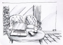 Coffee shop interior black and white illustration Royalty Free Stock Photo