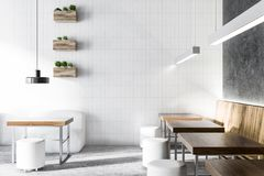 Coffee shop interior white and gray Royalty Free Stock Photo