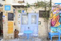 Coffee shop on kemalpasa street of Alacati in Cesme, Izmir, Turkey royalty free stock photo