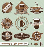 Coffee Shop Labels and Stickers. Collection of retro style coffee shop labels and badges Stock Image