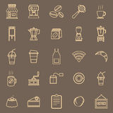Coffee shop line color icons on brown background Royalty Free Stock Images