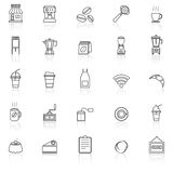Coffee shop line icons with reflect on white background Stock Images