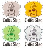 Coffee shop logo. On various backgrounds Royalty Free Stock Photos