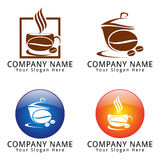 Coffee Shop Logo with Coffe Bean and Cup Concept Royalty Free Stock Image