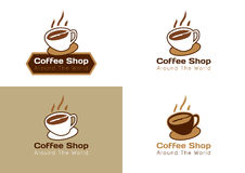 4 COFFEE SHOP LOGO. SAMPLE vector illustration