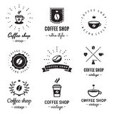 Coffee shop logo vintage vector set. Hipster and retro style. Stock Photos