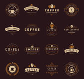 Coffee Shop Logos, Badges and Labels Design Stock Images