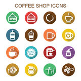 Coffee shop long shadow icons Stock Photography