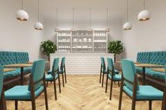 Coffee shop med blåa stolar Royaltyfria Bilder