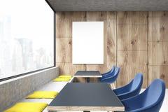 Coffee shop med blåa stolar, sida vektor illustrationer