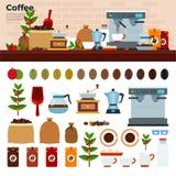 Coffee shop med olika sorter av kaffe på tabellen Arkivfoto