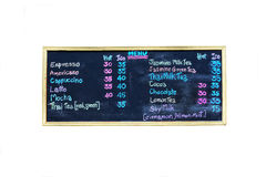 Coffee shop menu on blackboard Stock Images