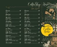 Coffee shop menu with price list and pictures Stock Image