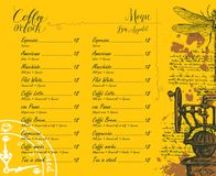 Coffee shop menu with price list and pictures Stock Photo