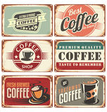 Coffee shop metal signs collection Stock Image
