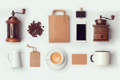 Coffee Shop Mock Up Template For Branding Identity Design. Flat Lay Stock Photo