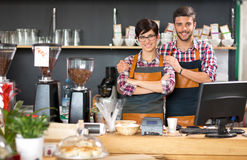 Coffee shop owner. Young business owner working coffee shop stock image