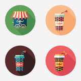 Coffee shop and paper coffee cups flat round icons. Stock Photos