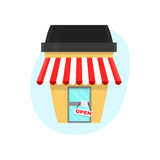 Coffee shop in a paper cup of coffee. Vector flat cartoon illustration. Isolated on white background. Coffee creative concept for Stock Images