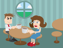 Coffee Shop People. Man and woman sitting at a coffee shop vector illustration