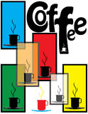 Coffee Shop Poster. Colored panels and coffee cup silhouettes are featured in an abstract background vector  illustration Royalty Free Stock Photography