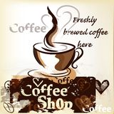 Coffee Shop Poster In Grunge Vintage Style With Cup Of Freshly Royalty Free Stock Image