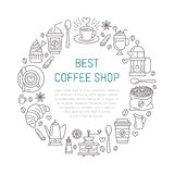 Coffee shop poster template. Vector line illustration of coffeemaking equipment. Elements - espresso cup, french press Royalty Free Stock Photos