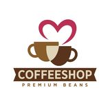 Coffee shop with premium beans logotype with cups. And heart pink outline isolated cartoon flat vector illustration on white background. Cafe with delicious Stock Image