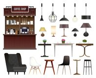 Coffee Shop Realistic Set royalty free illustration