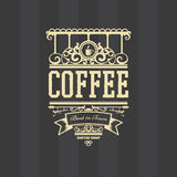 Coffee shop related vector design of a badge. For design project with dark background Stock Photography