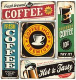 Coffee shop retro metal signs collection Royalty Free Stock Image