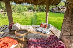 Coffee Shop in rice paddy field in Nan Province, Thailand. Royalty Free Stock Photography