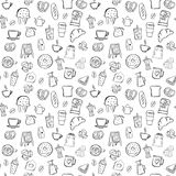 Coffee shop seamless pattern background set. Coffee shop doodle seamless pattern background Royalty Free Stock Image