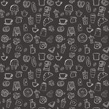 Coffee shop seamless pattern background set. Coffee shop doodle seamless pattern background Royalty Free Stock Images