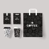 Coffee shop set branding mock up. With coffee cup and package design template Stock Photography
