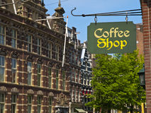 Coffee Shop Sign in Amsterdam Royalty Free Stock Photography