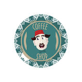 Coffee shop sign or symbol with turkish man with fez hat on. Great as turkish coffee promotion. Coffee shop sign, symbol  or stamp with turkish man with fez hat Stock Photos