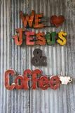 Coffee shop sign in Texas. January 1, 2016 Gruene, Texas: coffee shop sign in the revived ghost town Royalty Free Stock Photos