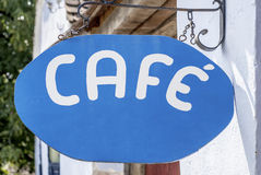 Coffee shop sign. Written with white letters on blue background Royalty Free Stock Photos