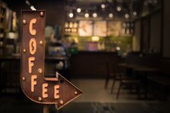Coffee shop signboard, in front of the store Royalty Free Stock Images