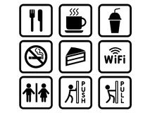 Coffee shop stickers Stock Images