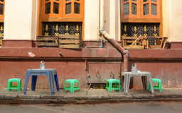 Coffee shop on the street in Yangon Royalty Free Stock Image
