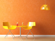 Coffee-shop teble and chair. 3D render scene of a modern coffee-shop table and chair in orange and yellow colors Stock Images