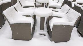 Coffee shop terrace in winter Stock Photo