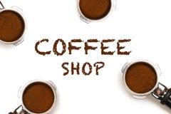 Coffee Shop text four pistons Stock Photos